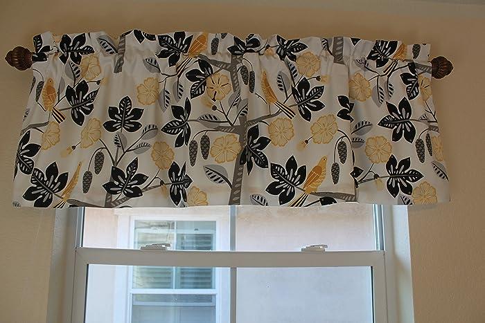 Amazon Com Valances Curtains Birds And Leaf Pattern Home Decor