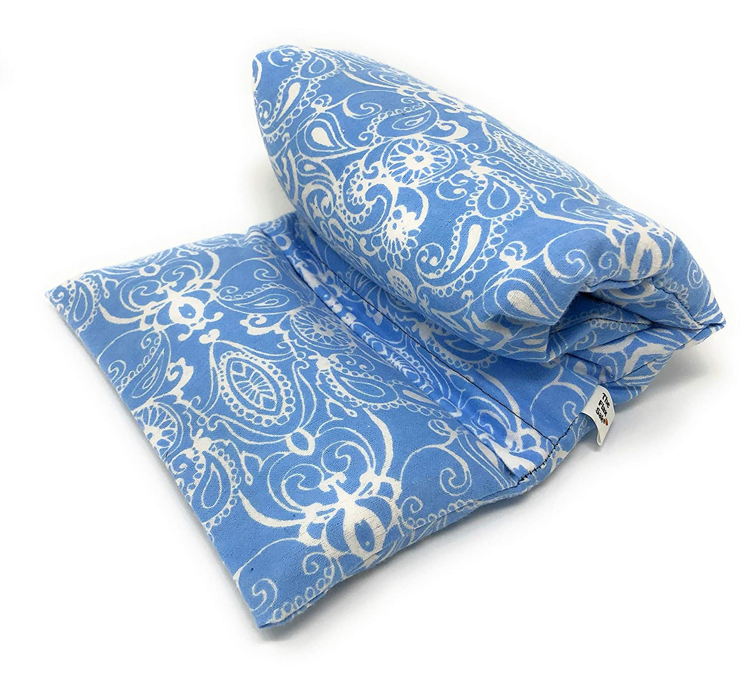Extra Large Hot Pack - Microwaveable Pain Relief - Menstrual Cramps Therapy - Reusable Washable Cover - Naturally Soothing - Unscented Blue Paisley