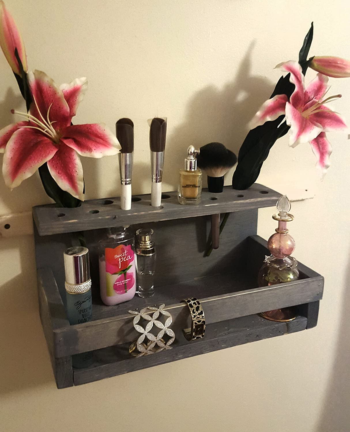 Re-purposed Rustic Wood Makeup/Perfume Shelf Organizer (More Colors Available)