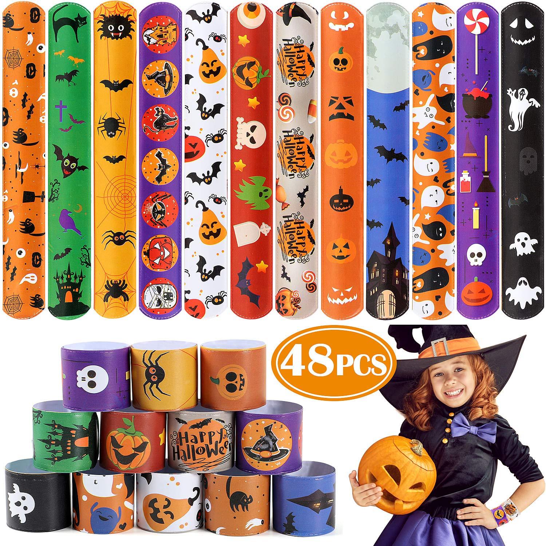 Latocos 48 PCS Halloween Slap Bracelets for Kids Snap Bracelets Bulk with Spider Pumpkin Ghost Animal Print Craft Halloween Party Favors Birthday Gifts by Latocos