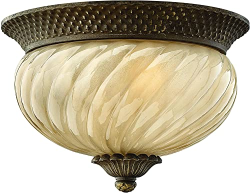 Hinkley 2128PZ Traditional Two Light Flush Mount from Plantation collection in Bronze Darkfinish,