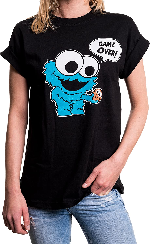 MAKAYA Top Monstruo Baby Manga Corta Talla Grande - Galletas - Camiseta Friki Divertida para Mujer