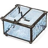 J Devlin Box 185-3 Double Hinged Blue Stained Glass Jewelry Keepsake Box Decorative Trinket Box