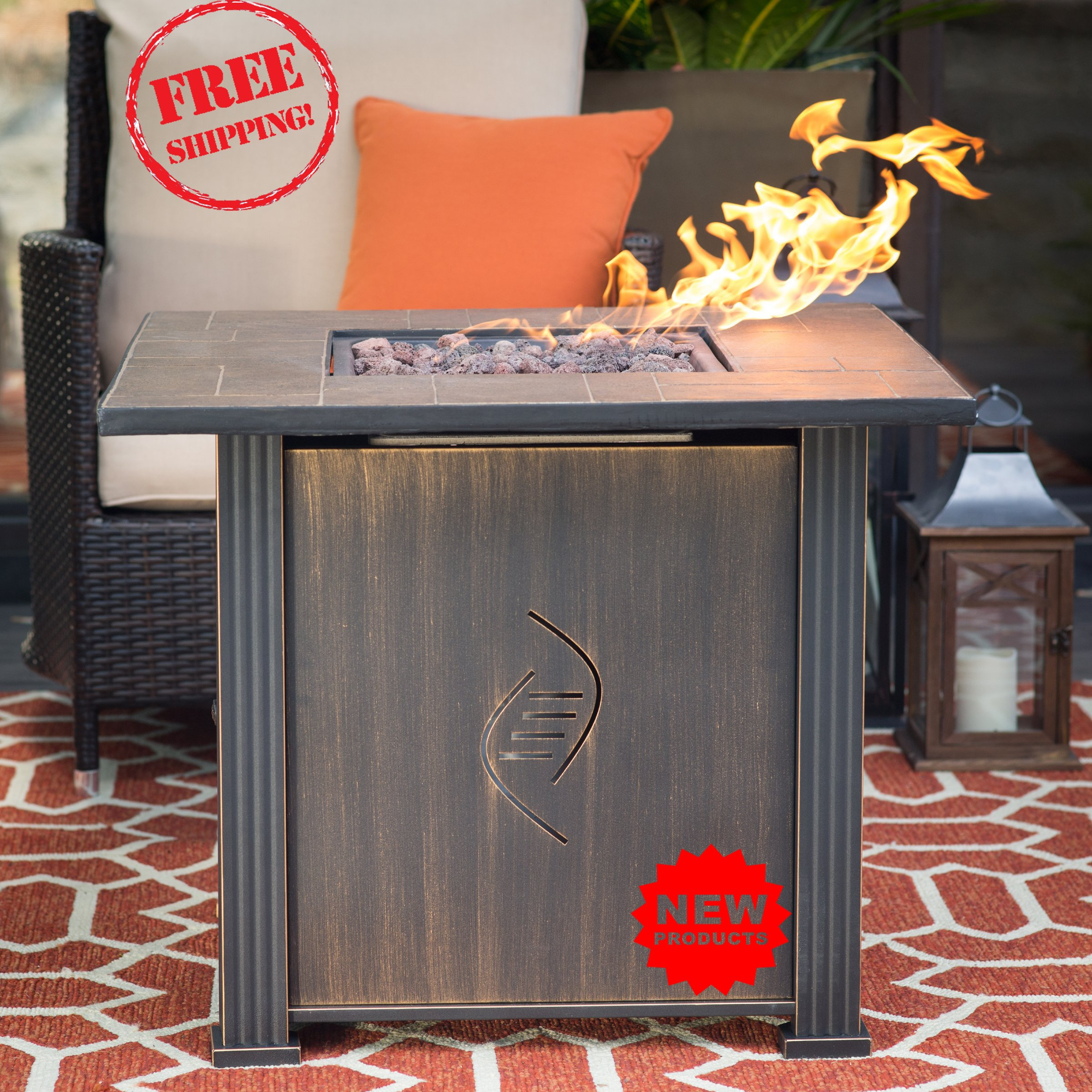 Fire PitsOutdoor Fireplace, Propane Gas and Outdoor Fireplace kits, heater for dining outdoors, Sturdy steel - easy to use, Heating power: up to 50,000 BTUs