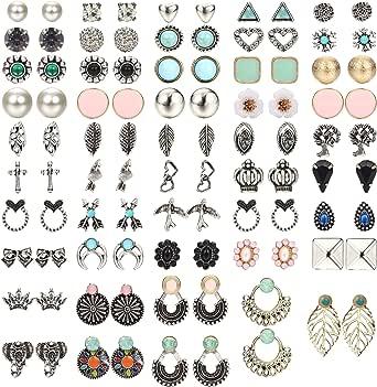 Udalyn Juego de 48 pares de pendientes bohemios para mujer, hipoalergénicos, variados, joyería vintage