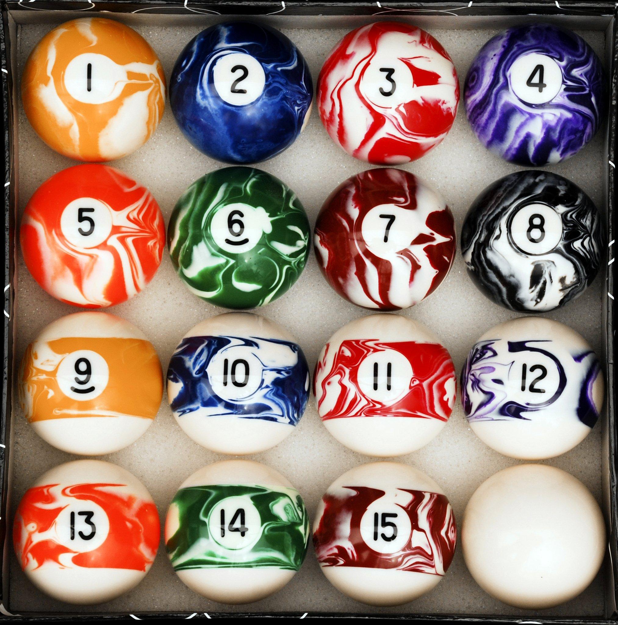 Iszy Billiards Pool Table Billiard Ball Set, Marble/Swirl Style by Iszy Billiards