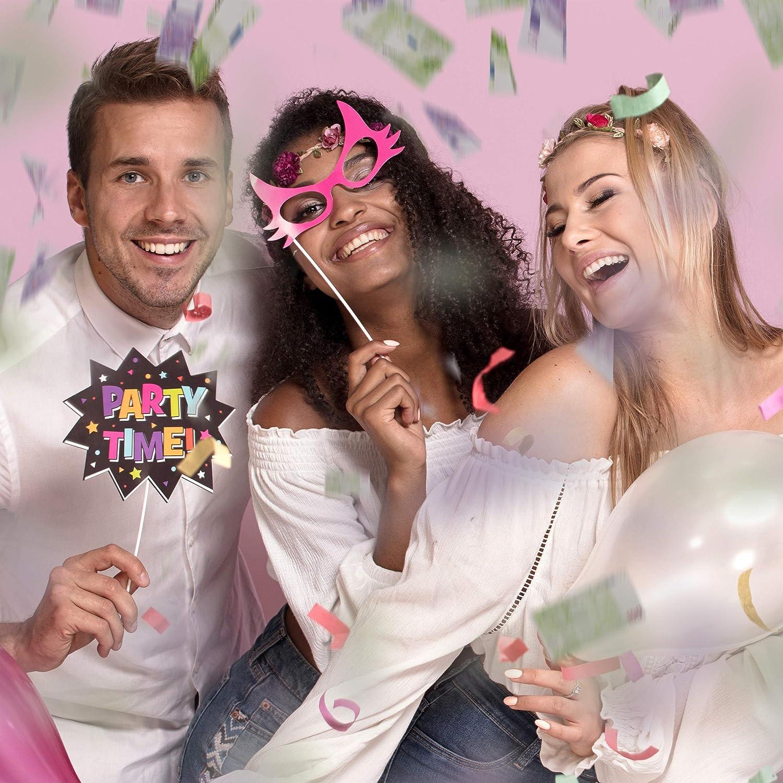 para Carnaval o Cumplea/ños 40 cm Papel-Cart/ón 6-8 m de Alcance Relaxdays Ca/ñ/ón Confeti Billetes Lila-Verde