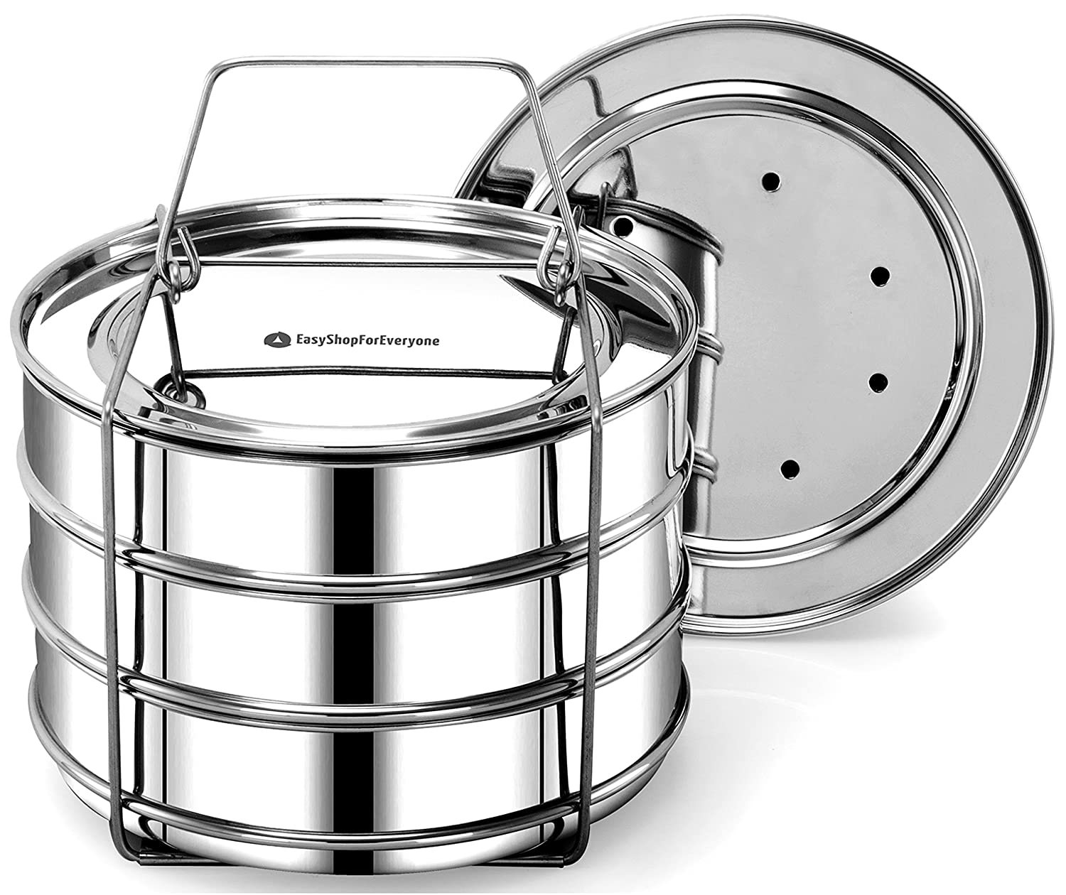 Stackable Steamer Insert Pans, Cook 3 Dishes, Pressure Cooker Accessory 6, 8 qt EasyShopForEveryone PCIP-3T-KJ