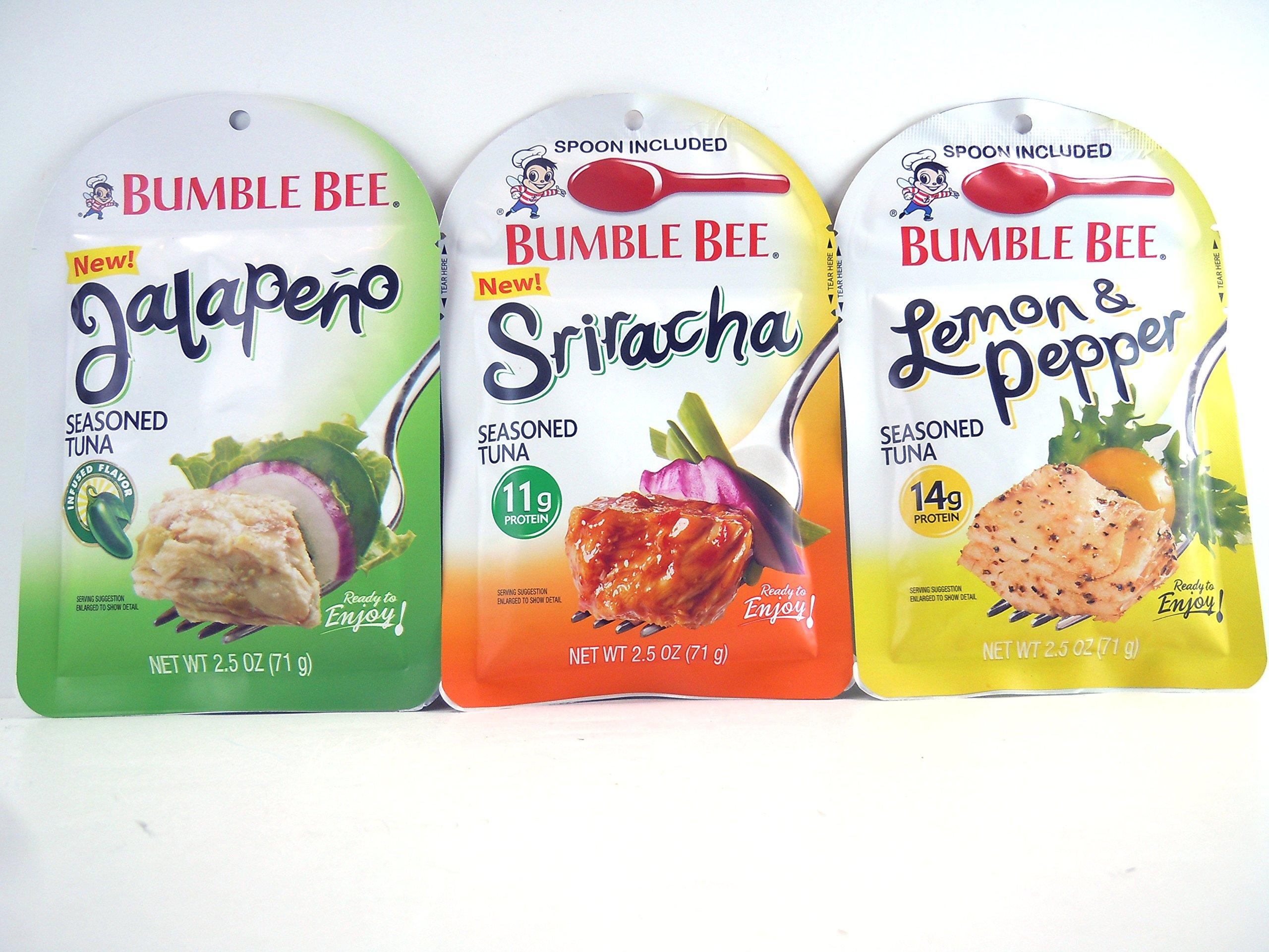 Bumble Bee NEW Seasoned Tuna : Sriracha, Jalapeno, and Lemon & Pepper 2.5 oz.ea. Bundle of 3 Pouches by Bumble Bee