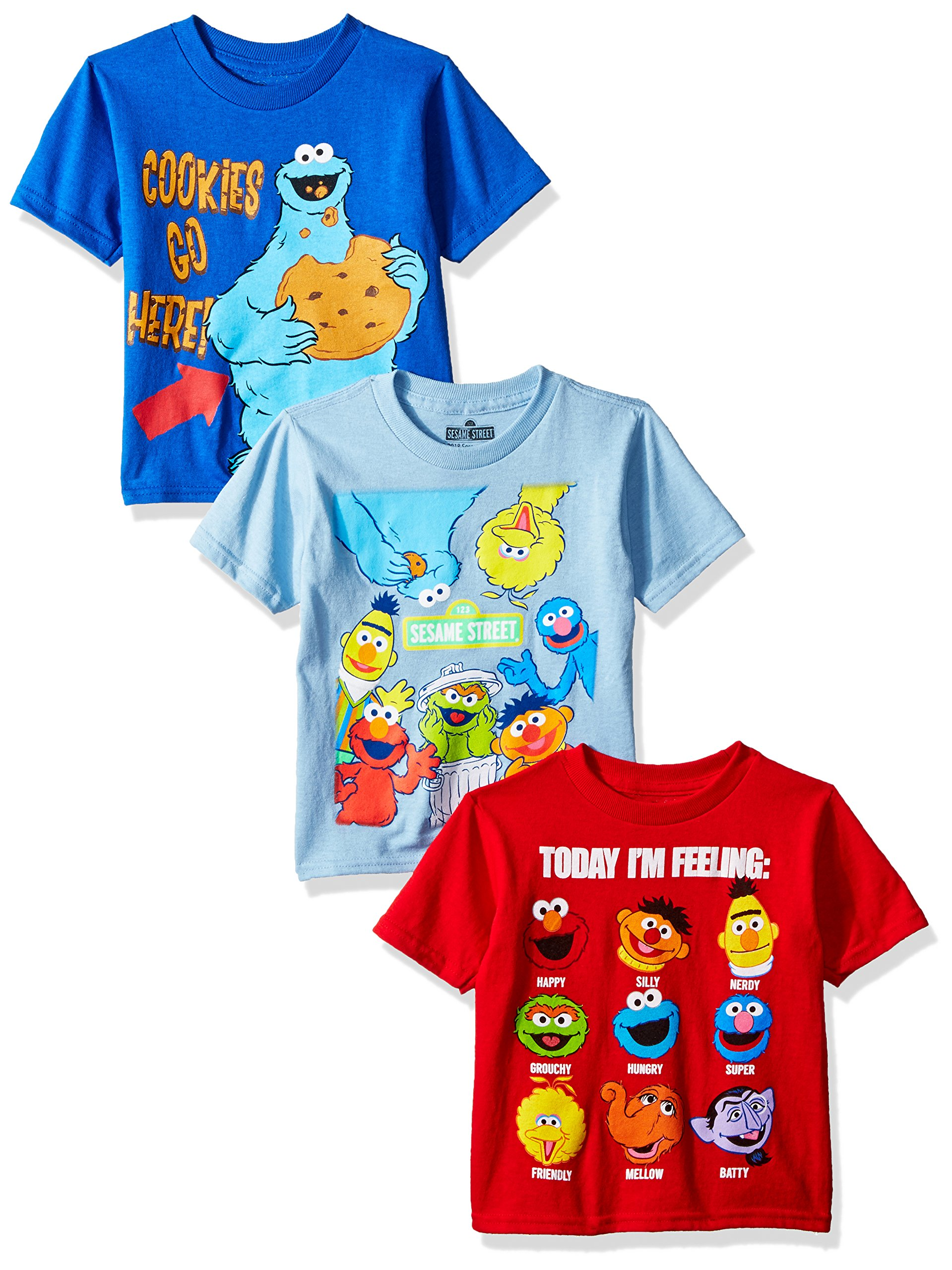 Sesame Street Toddler Boys' 3 Pack T-Shirts, Assorted, 3T