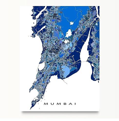 Amazoncom Mumbai Map Art Print India City Wall Artwork Blue