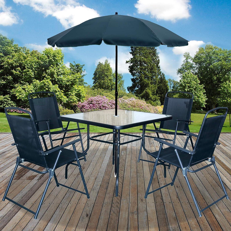 Marko Outdoor Malaga 6pc Garden Patio Furniture Set Outdoor Black 4 Seater Large Square Table Parasol Amazon Co Uk Garden Outdoors