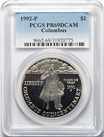 1992-P Columbus Silver Commemorative Dollar PR69DCAM PCGS Proof 69 Deep Cameo