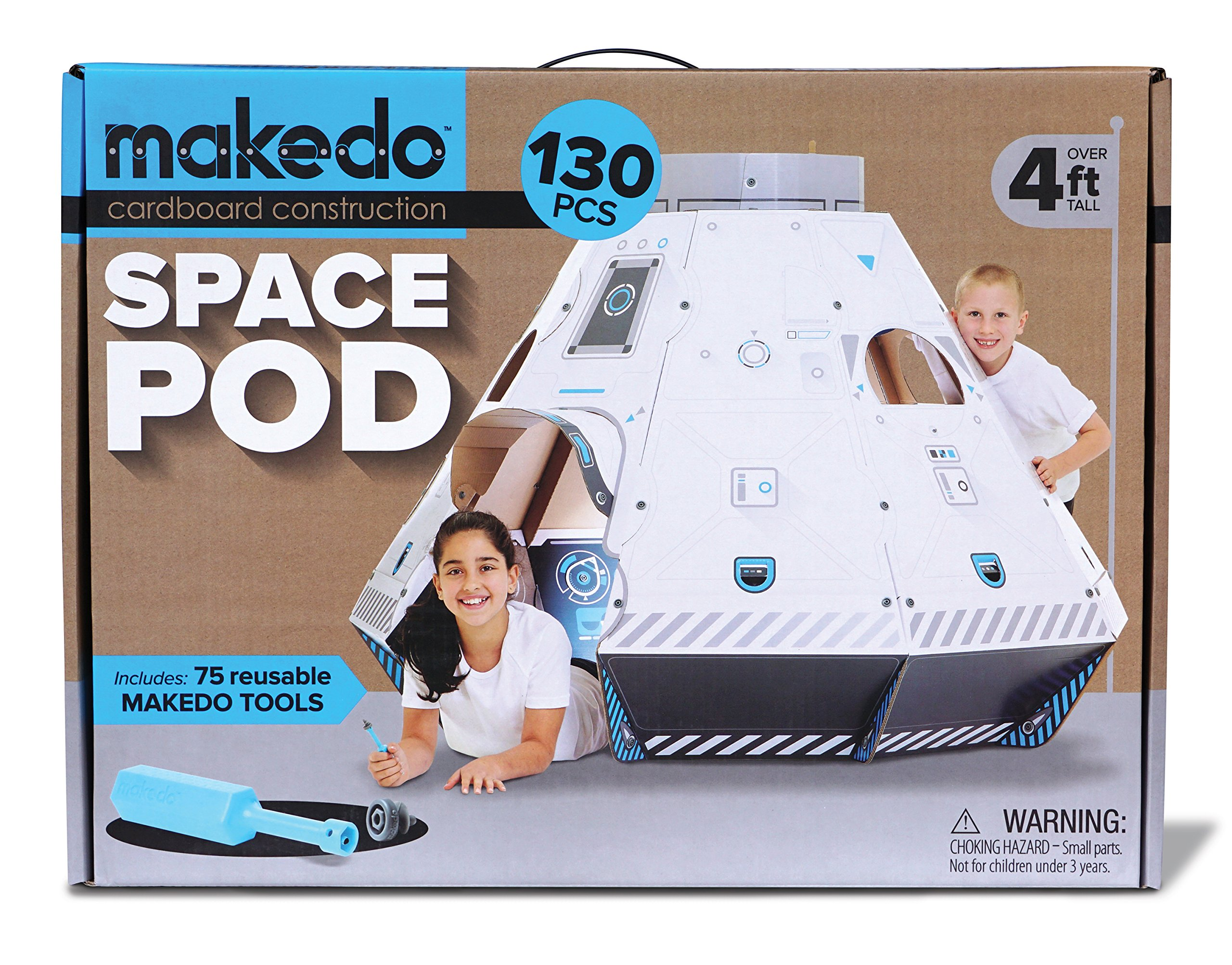 Makedo Cardboard Construction Space Pod - Ready To Build Construction Playset - STEM Learning Project - Stands Over 4 Ft Tall When Assembled - Includes 75 Reusable Makedo Tools