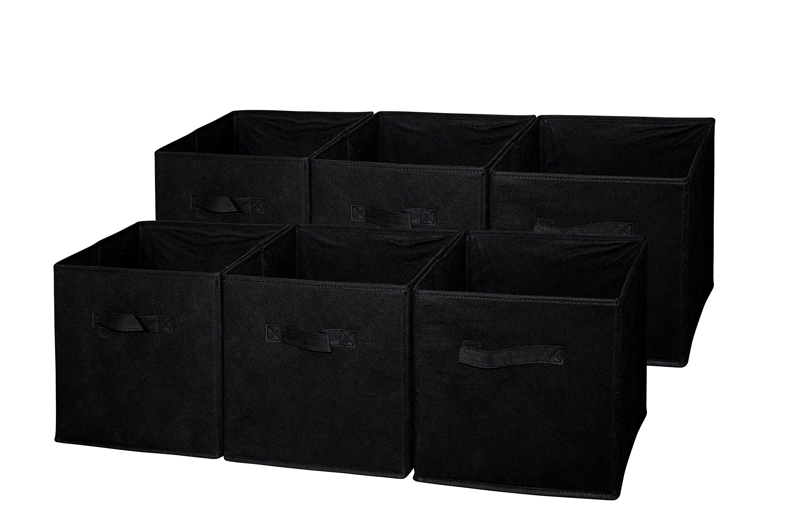 Sodynee Foldable Cloth Storage Cube Basket Bins Organizer Containers Drawers, 6 Pack, Black