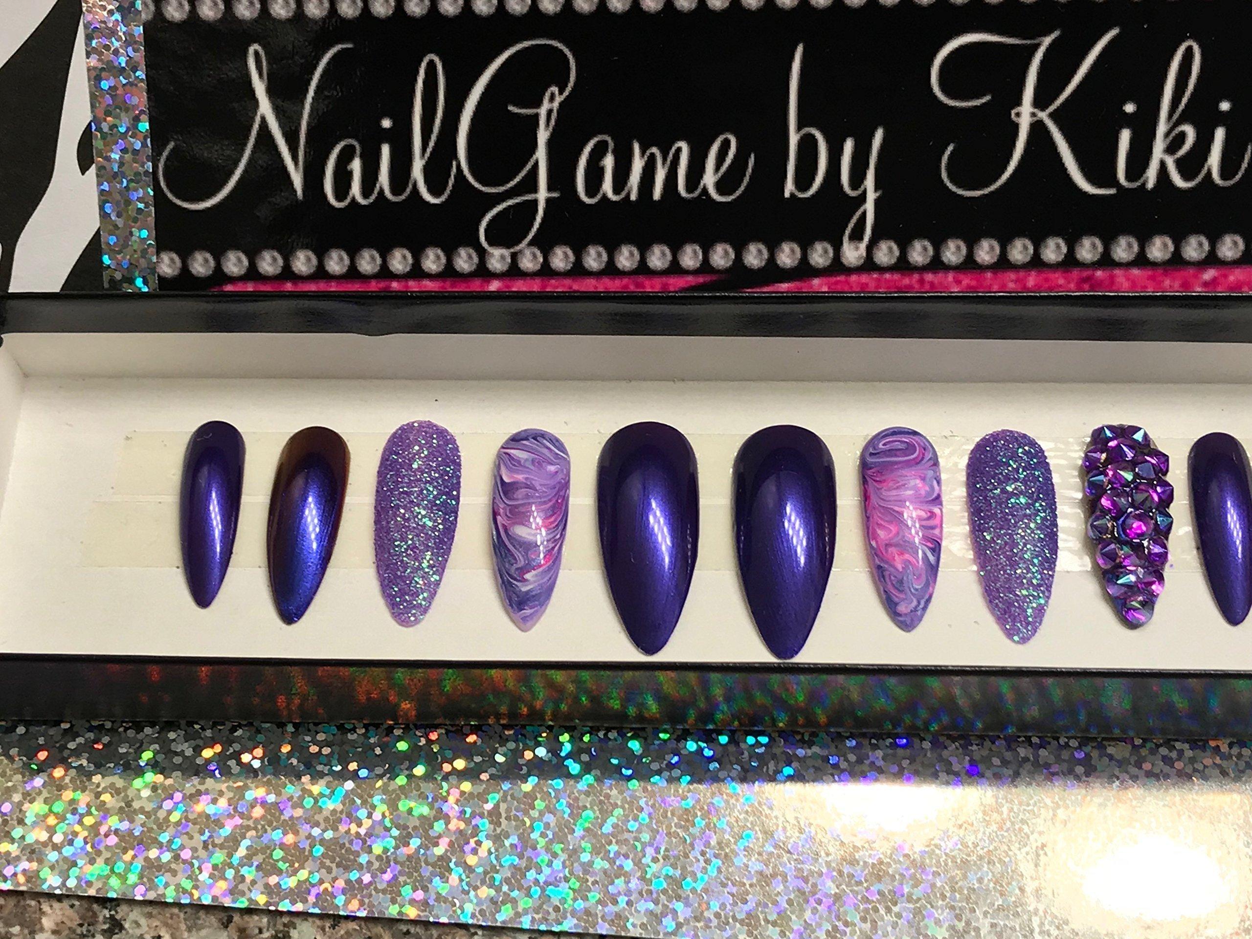 Dem Purples with a swirl Hand Designed Press-on Glue-on Nails Custom Nails False Nails Fake Nails Coffin Nails Handmade Nail Set