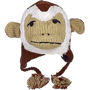 Divertido Mono Gorro de lana de invierno hecho a mano con diseño de Animal  con forro 91af2905ce8