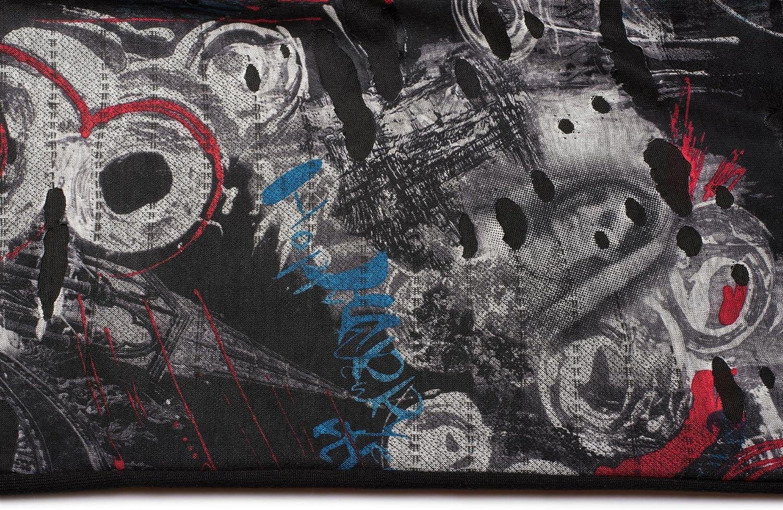 Unisex 01016119 styleBREAKER Loop Schal im Splat Style mit Klecksen und Zeichen im Destroyed Vintage Look