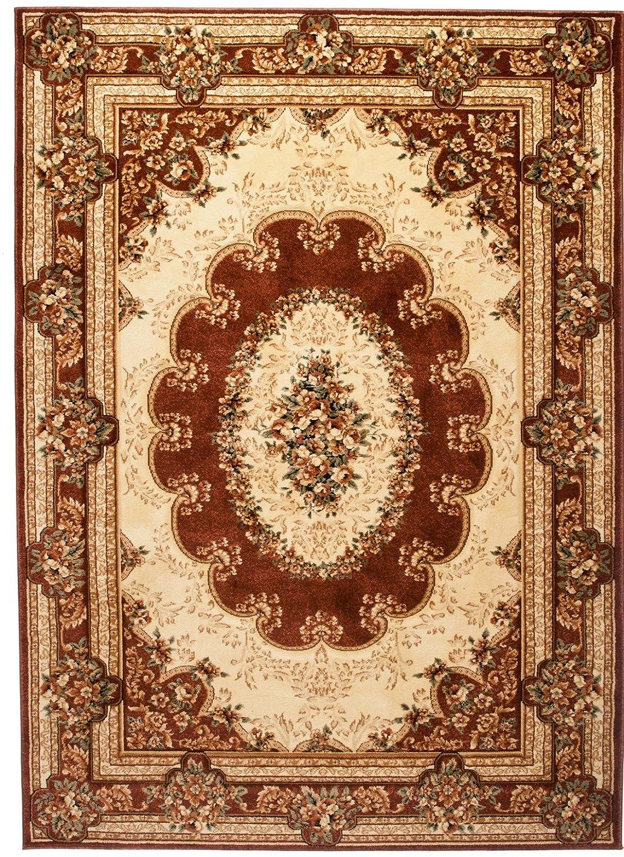 Tapiso YESEMEK Teppich Klassisch Kurzflor Orientalisch Teppiche Floral Ziegler Medaillon Ornament Muster und Bordüre in Braun Beige Barock Design Wohnzimmer ÖKOTEX 300 x 400 cm