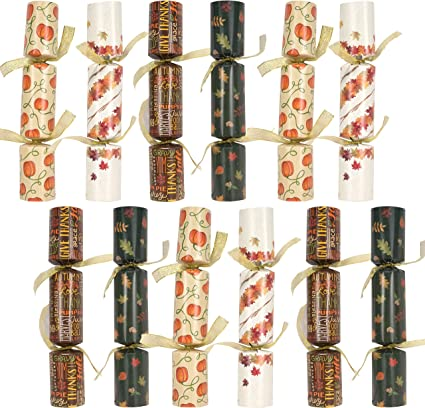 """Thanksgiving Holiday Traditions Joke /& Little Gift Inside Lettering for Fall Holiday Gifts Designed with Autumn Leaves 12 Pack 10/"""" Thanksgiving No Snap No Popping Party Table Favor Pumpkin with Party Hat"""