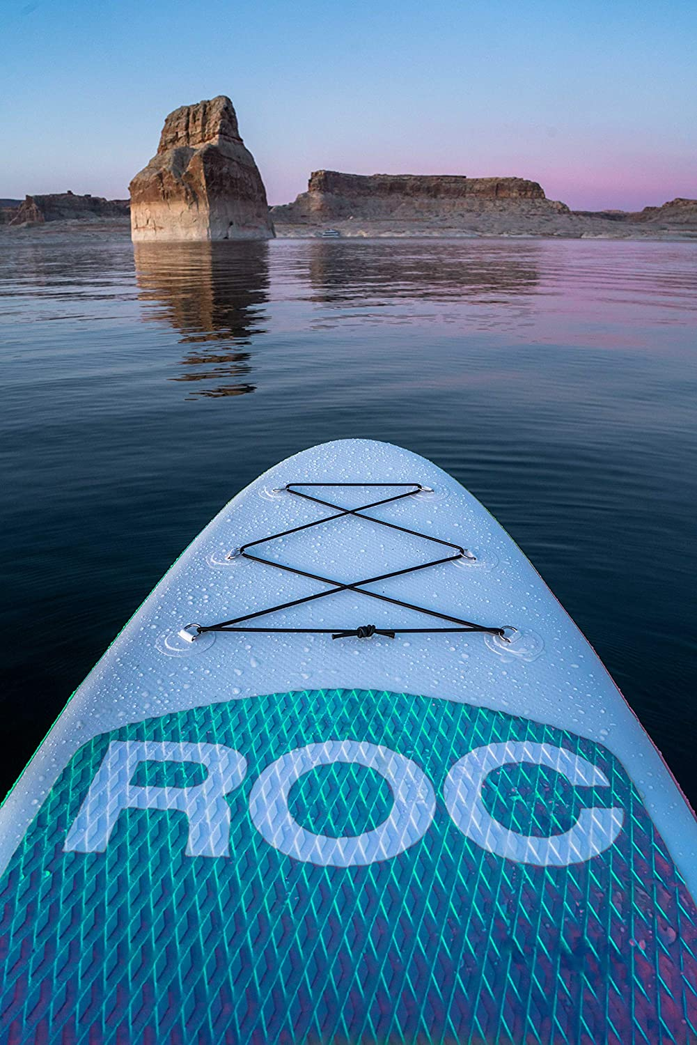 roc paddle board in the water