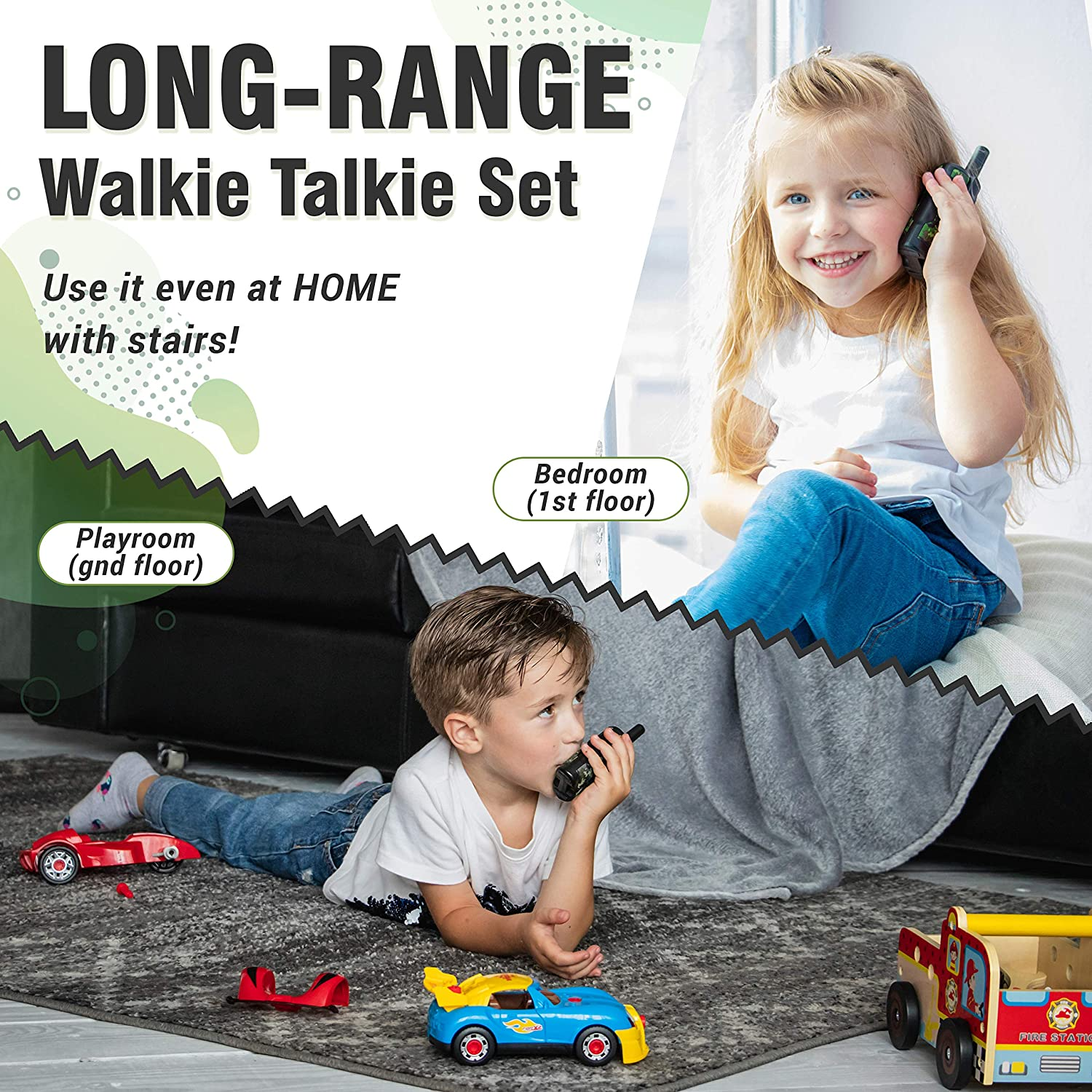 JAMTOYS Camo Walkie Talkies for Kids Set of 2 Birthday for Children 4 Miles Long-Range 22 Channel Two-Way Radio Toys for Boys and Girls