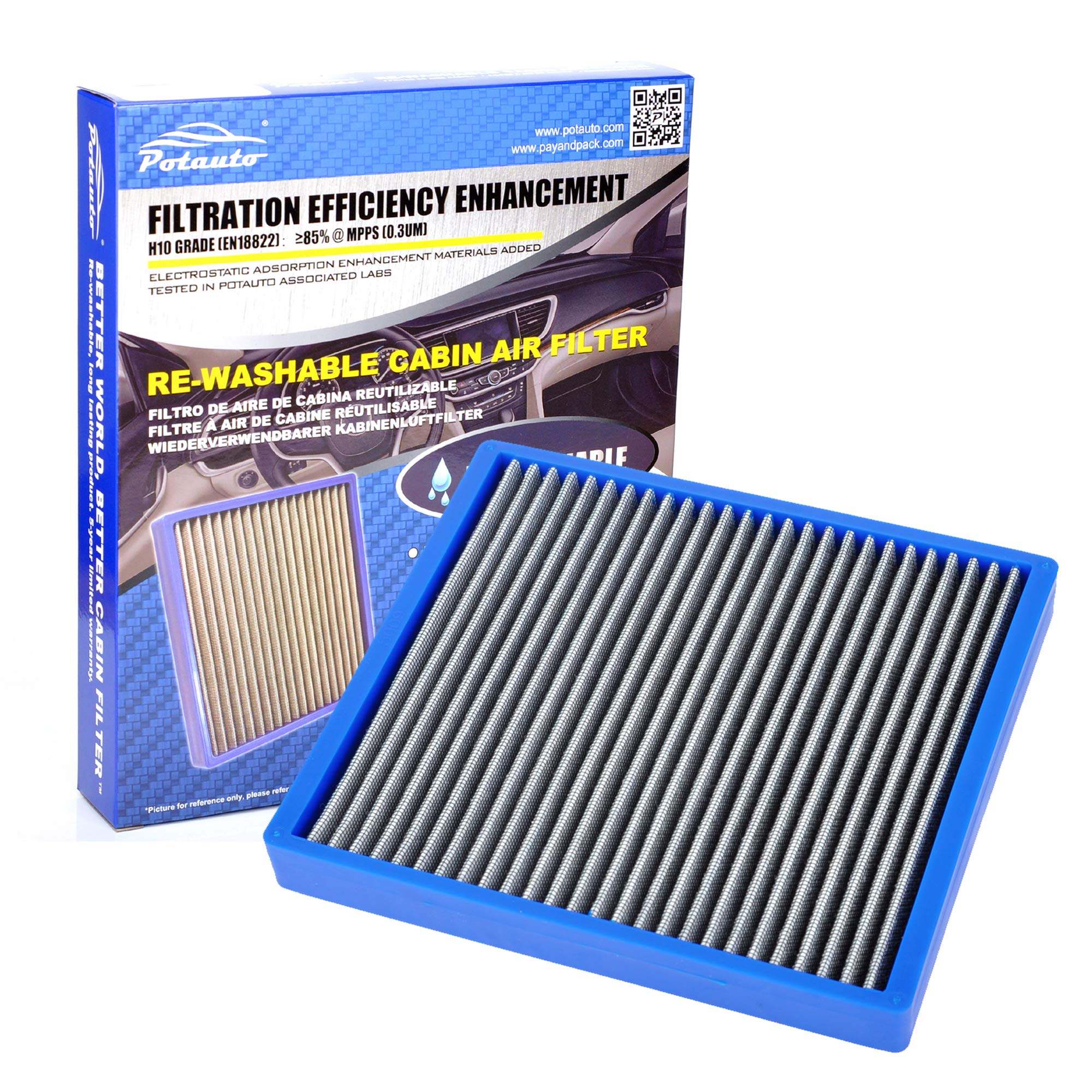 POTAUTO MAP 5009 Re-washable Cabin Air Filter Cleans Airflow for CHRYSLER, Cirrus, DODGE, Avenger, Caliber, Journey, JEEP, Compass, Patriot (Re-washable (Blue))