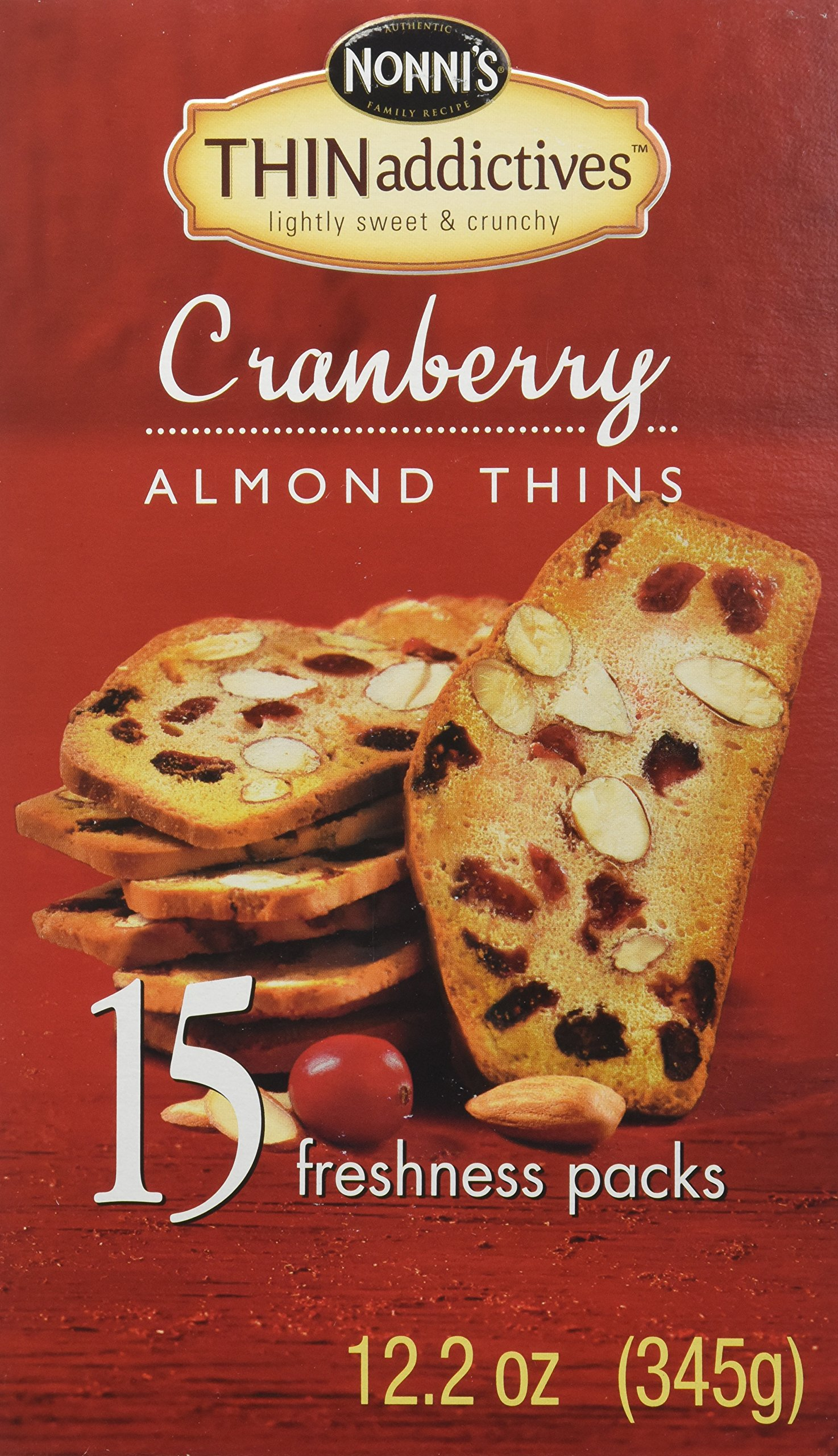 THIN Addictive Cranberry Almond Thins 15 Packs of crunchy cookies (12.2 oz) by THIN Addictives