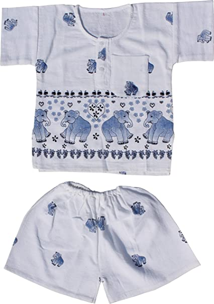 Raan Pah Muang RaanPahMuang Thai Cotton Childs Elephant Print Shirt and Shorts Pijama Outfit, Large