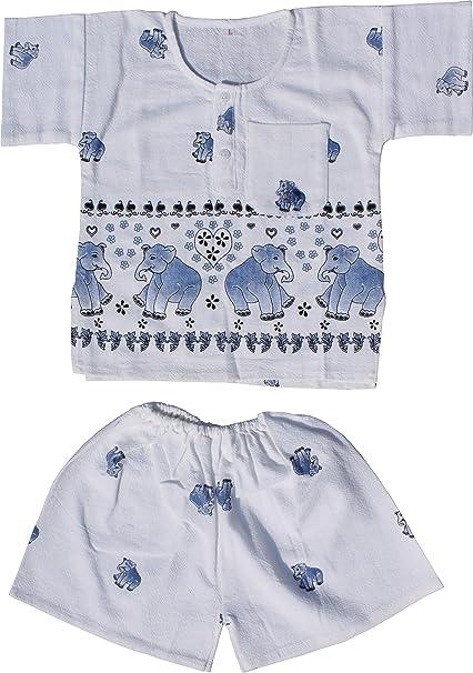 Raan Pah Muang RaanPahMuang Thai Cotton Childs Elephant Print Shirt and Shorts Pijama Outfit, Large