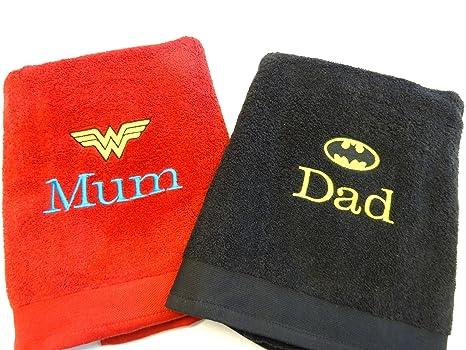 Personalizado Batman y Wonder Woman toallas de baño de – cualquier nombres – bordados – (