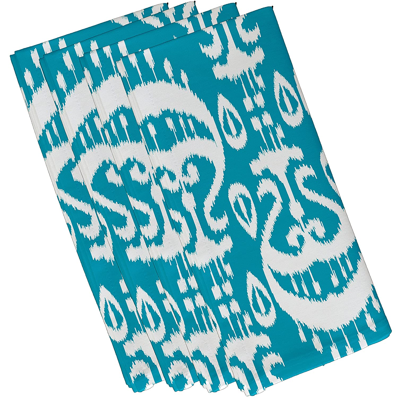 E by design Ikat幾何印刷、ナプキン、19 x 19インチ、ターコイズ   B01N9KVUCR