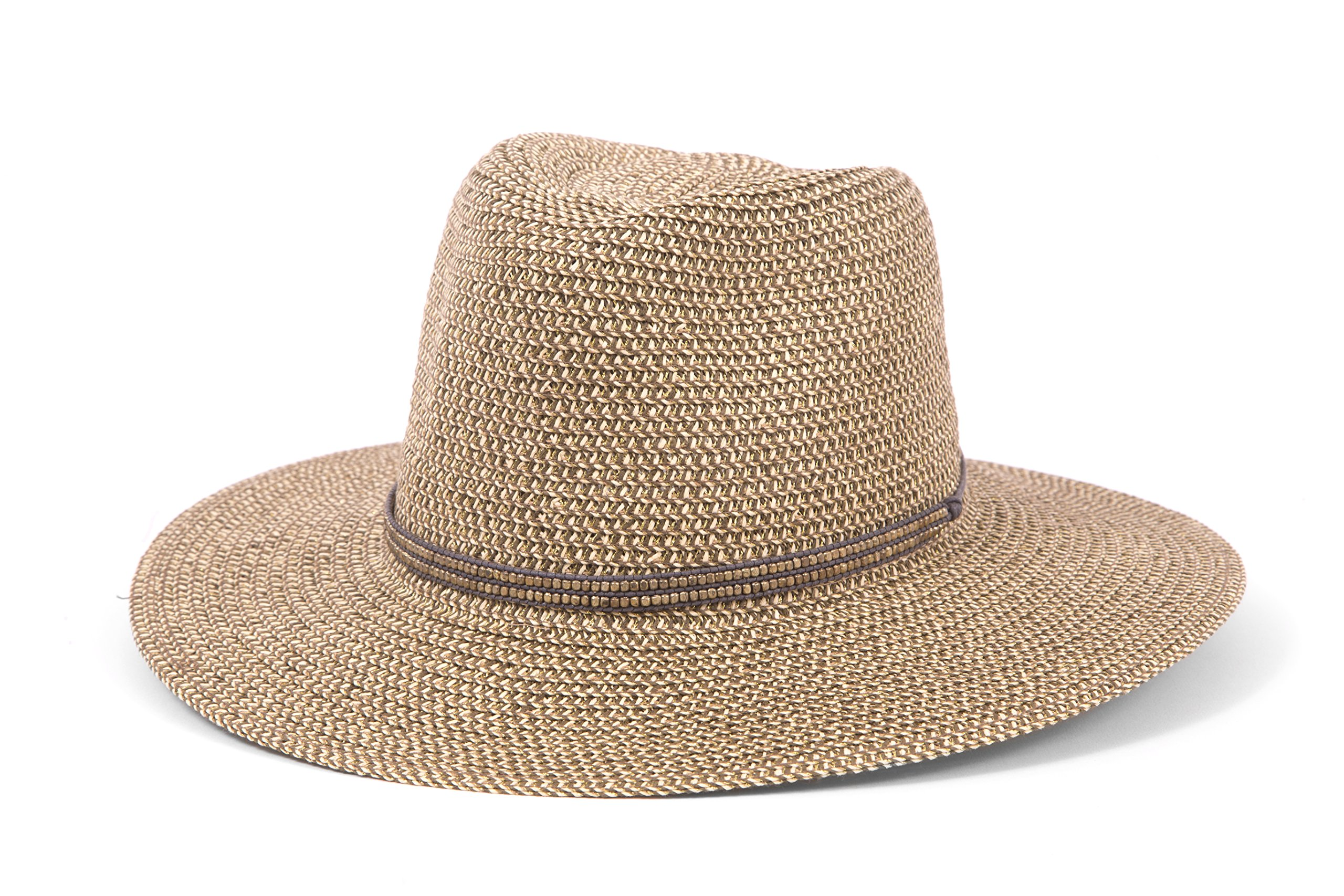 ale by Alessandra Women's Kenzie Toyo Straw Fedora Sunhat Packable & Adjustable, Grey, One Size