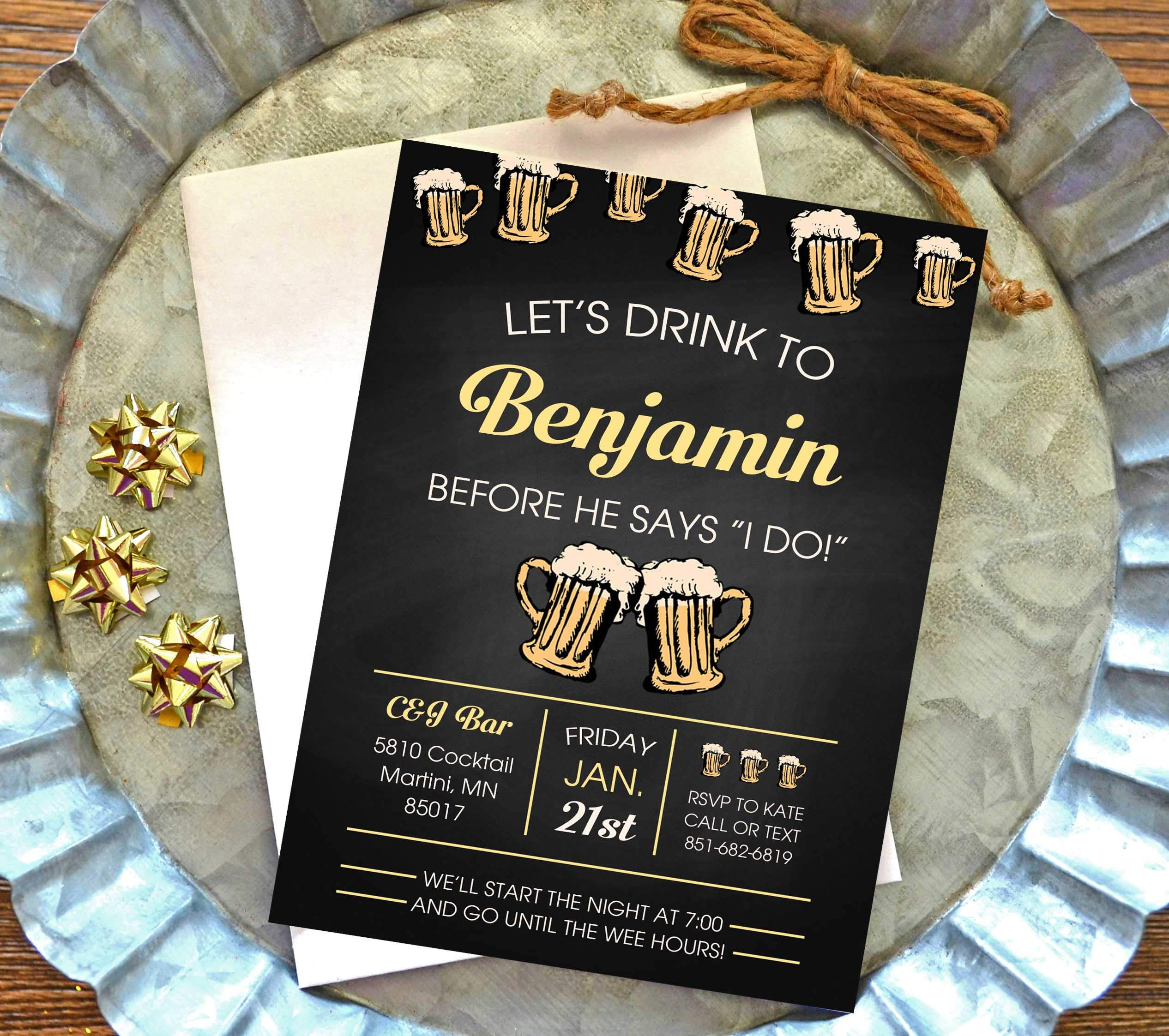 Bachelor party invitation set of 10 by Lacey Fields