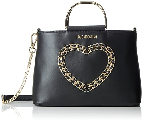 f1ddcc1d880 Love Moschino Borsa Vitello Bottalato Nero, Women's Shoulder Bag, Black,  10x19x26 cm (