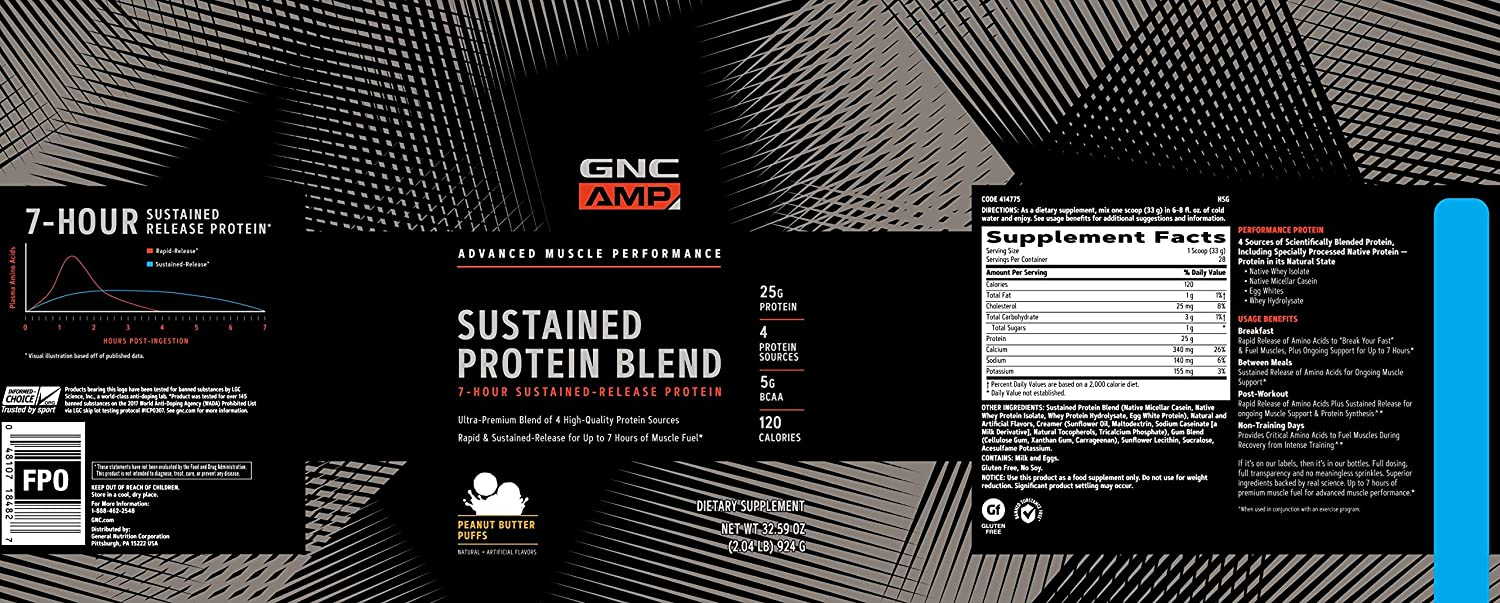 GNC AMP Sustained Protein Blend, Peanut Butter Puffs, 2.04 lbs.