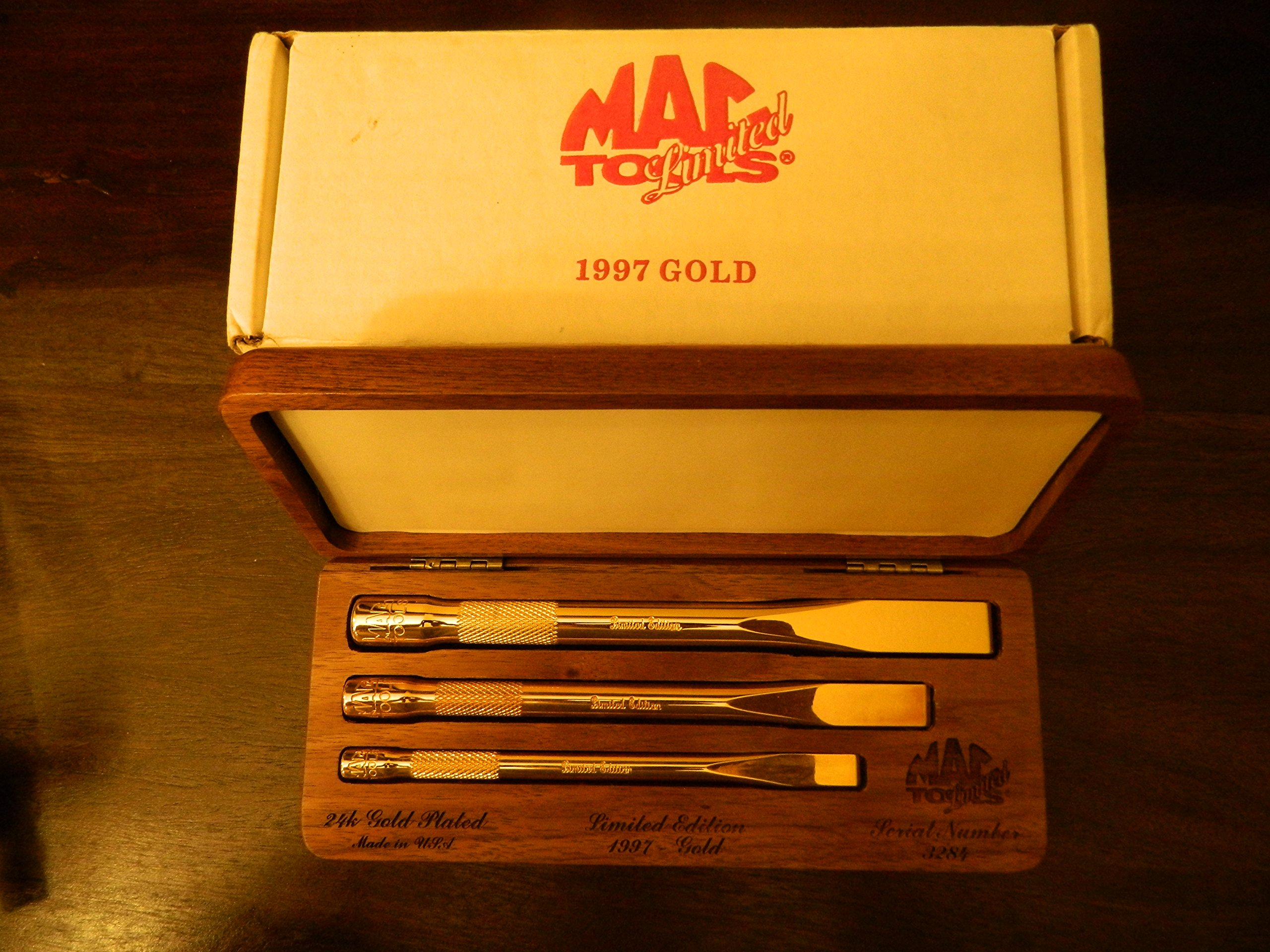 Mac Tools 1997 Limited Edition Set of 3, 24K Gold Plated Chisel, MADE IN USA, Serial #3284