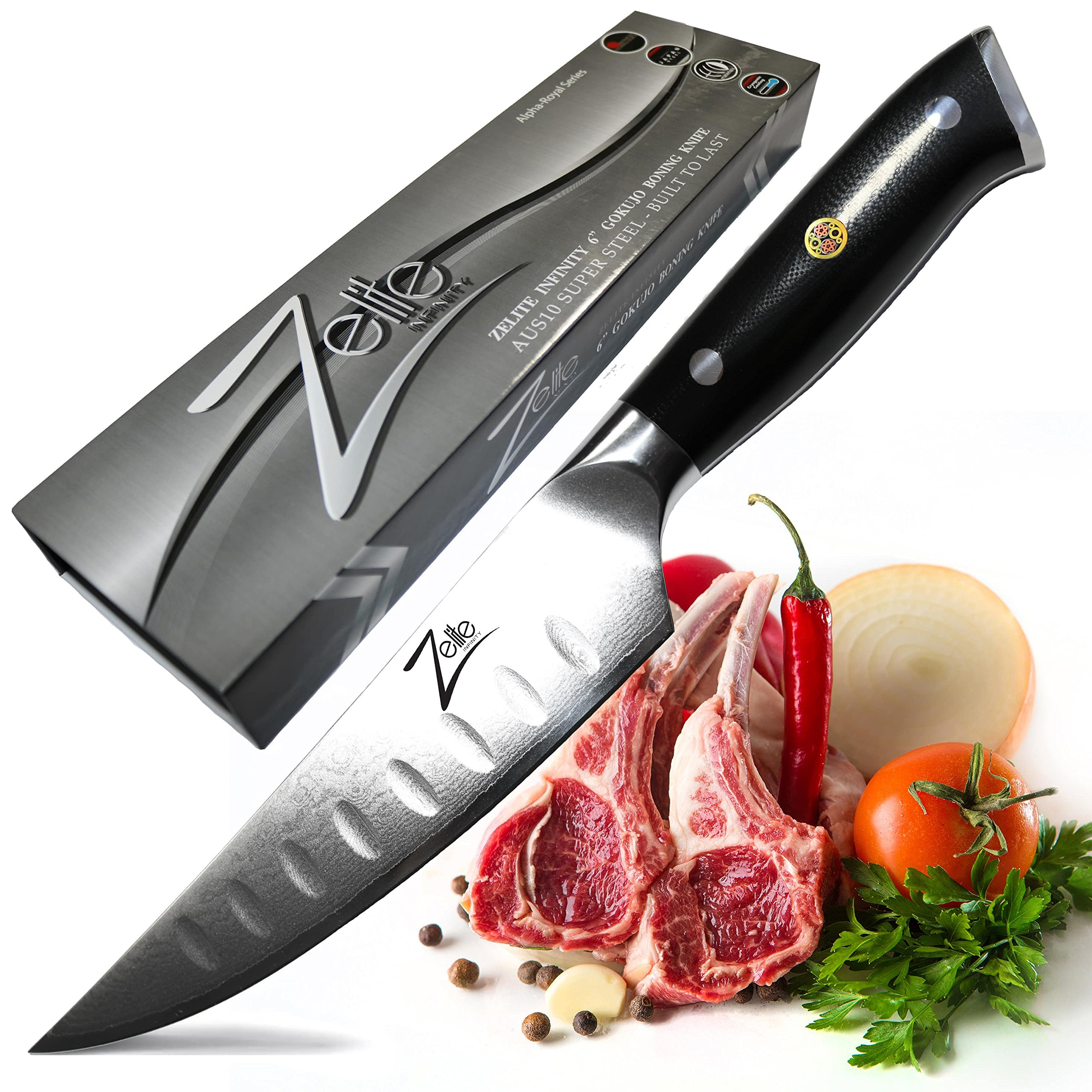 ZELITE INFINITY Boning Knife 6 inch - Alpha-Royal Series -Best Quality Japanese AUS10 Super Steel 67 Layer Damascus -Razor Sharp, Curved Granton Edge, Versatile Deboning Knives Great for Delicate Work