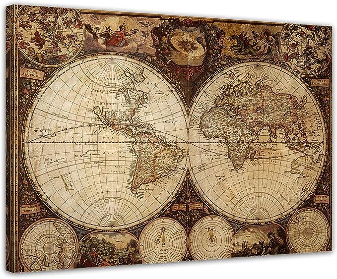 Bilderdepot24 Cuadros en Lienzo Mapa del Mundo del Vintage 120x90cm - Enmarcado Listo Bastidor Imagen. Directamente Desde el Fabricante: Amazon.es: Hogar