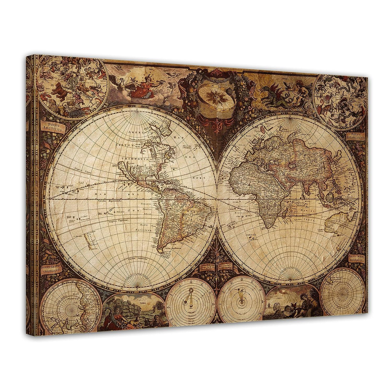 Amazon.de: Bilderdepot24 Leinwandbild Weltkarte Vintage\