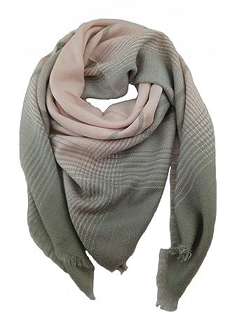 Êcharpe Carreaux Tartan Cachemire Châle plaid Foulard Laine Hiver femme (rose  gris) 8b0eae3b4d5