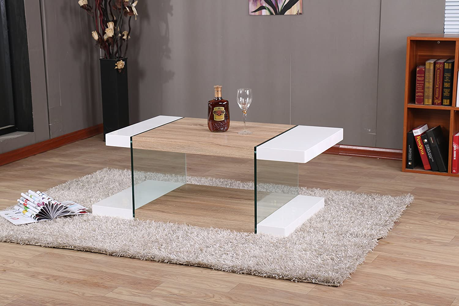 Modernique intero coffee table white oak top living room for New model living room furniture