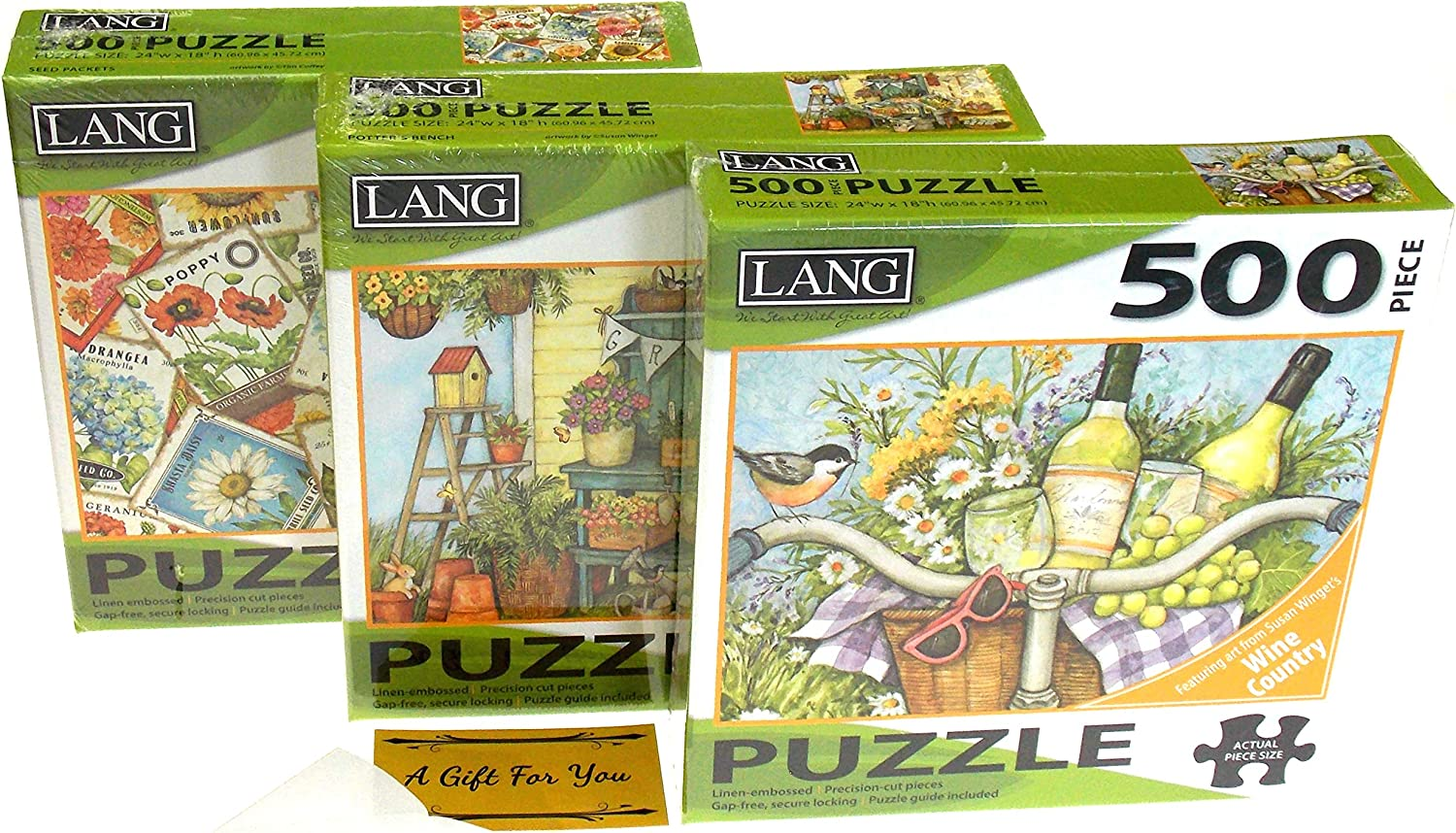Lang 500 Piece Puzzle Bundle - Garden Cheers, Potter's Bench & Seed Packets - Artwork by Susan Winget & Tim Coffey