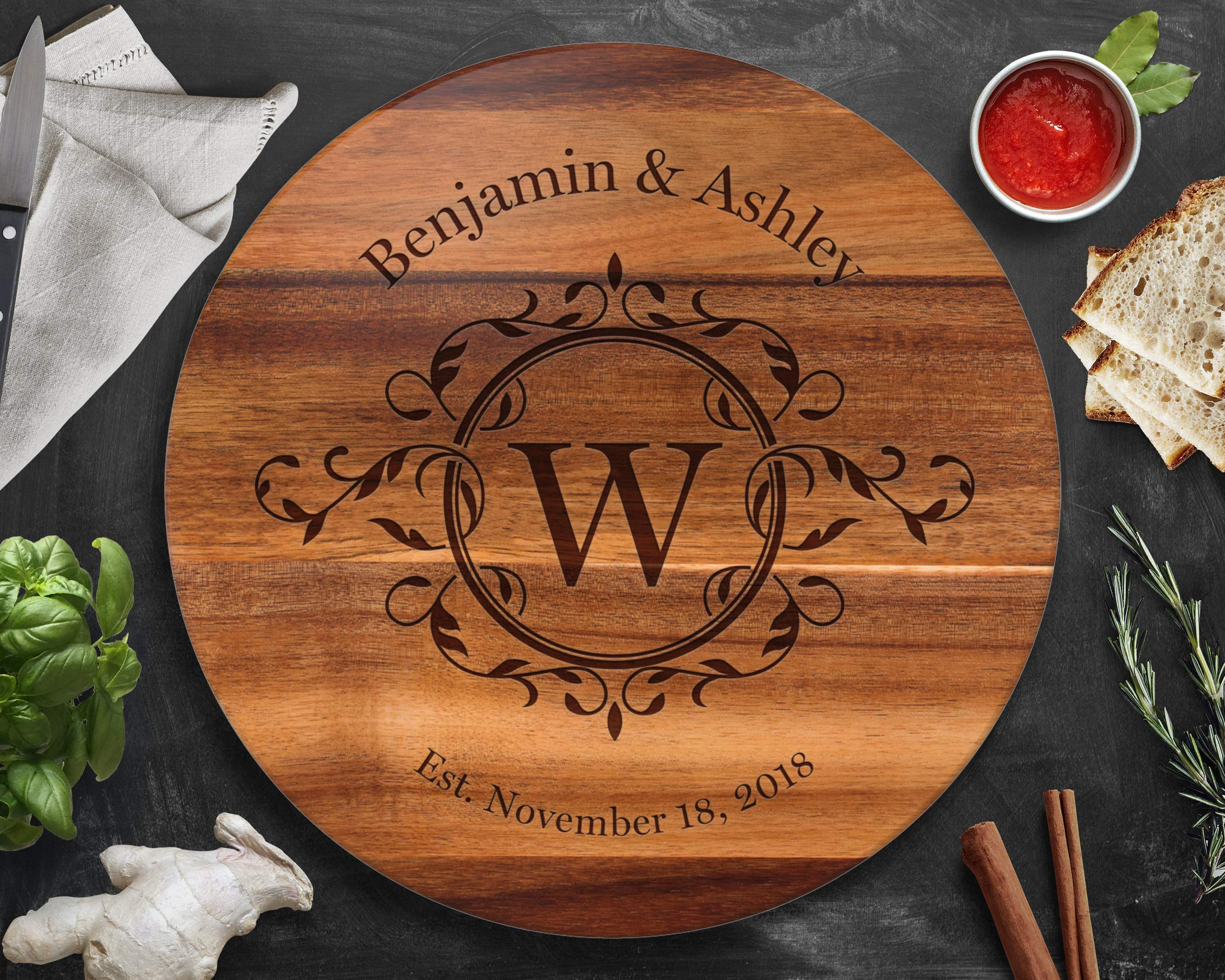 Personalized Lazy Susan Turntable, Large 18'' Acacia, Engraved Dark Wood, Custom Christmas Gift by The Sinclair Company