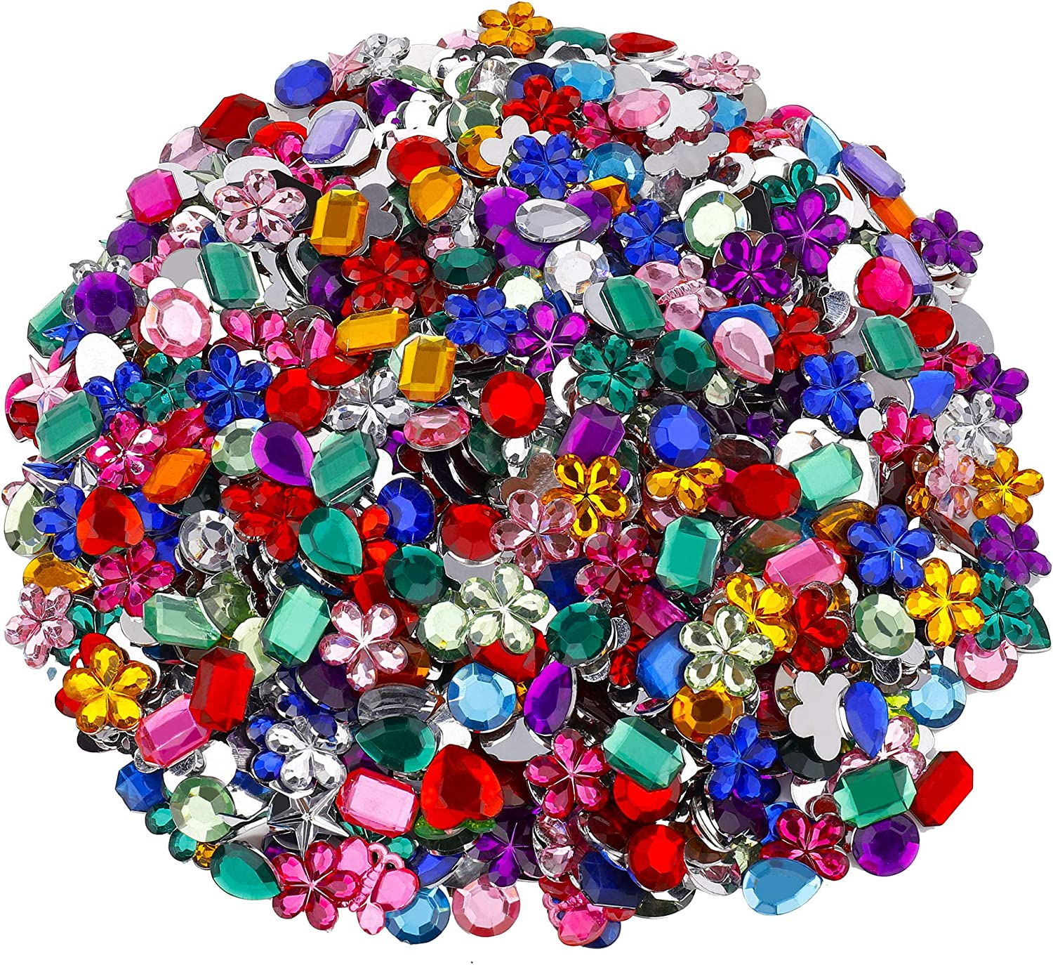 Assorted Gemstones Kids Arts And Crafts Coloured Acrylic Jewellery Jewels 100g