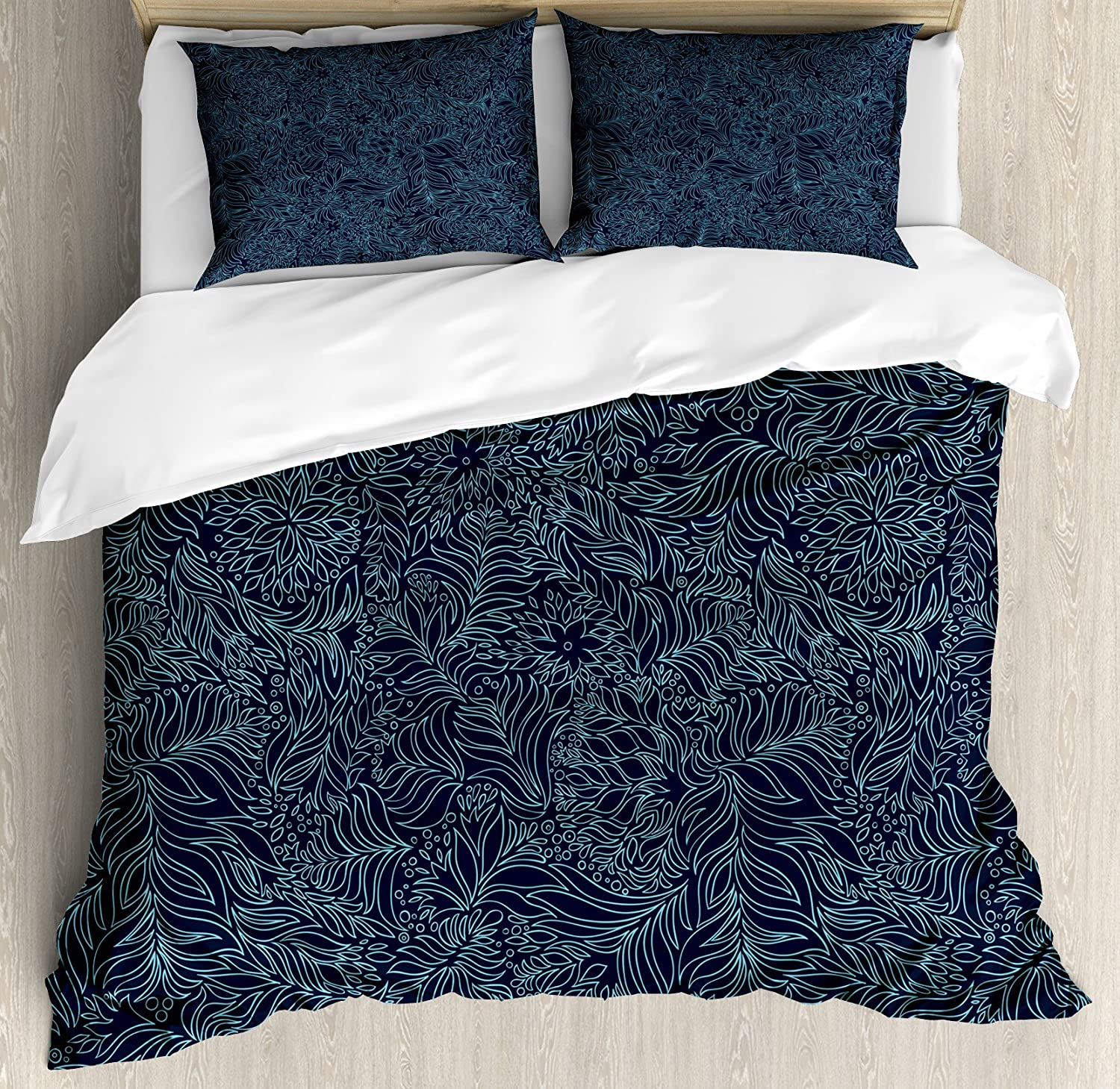 Ambesonne Navy and Teal Duvet Cover Set, Abstract Flourish Nature Inspired Pattern Leaves Blossoms, Decorative 3 Piece Bedding Set with 2 Pillow Shams, Queen Size, Dark Blue Turquoise