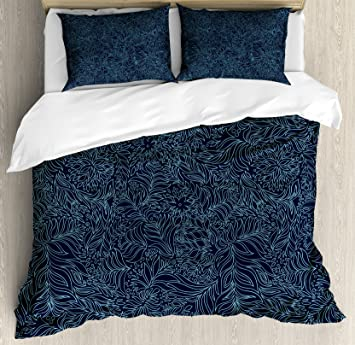 amazon com ambesonne navy and teal duvet cover set queen size rh amazon com