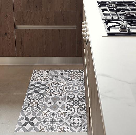 MAMUT Big Design Tapis en Vinyle inspiré du carrelage typique de l\'Art  Nouveau de Barcelone. Eclectic Grey 60x80cm. Se nettoie Facilement à l\'Aide  ...
