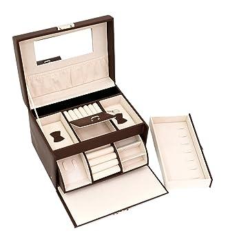Amazoncom Blu Monaco Brown Leather Mirrored Jewelry Box with Lock