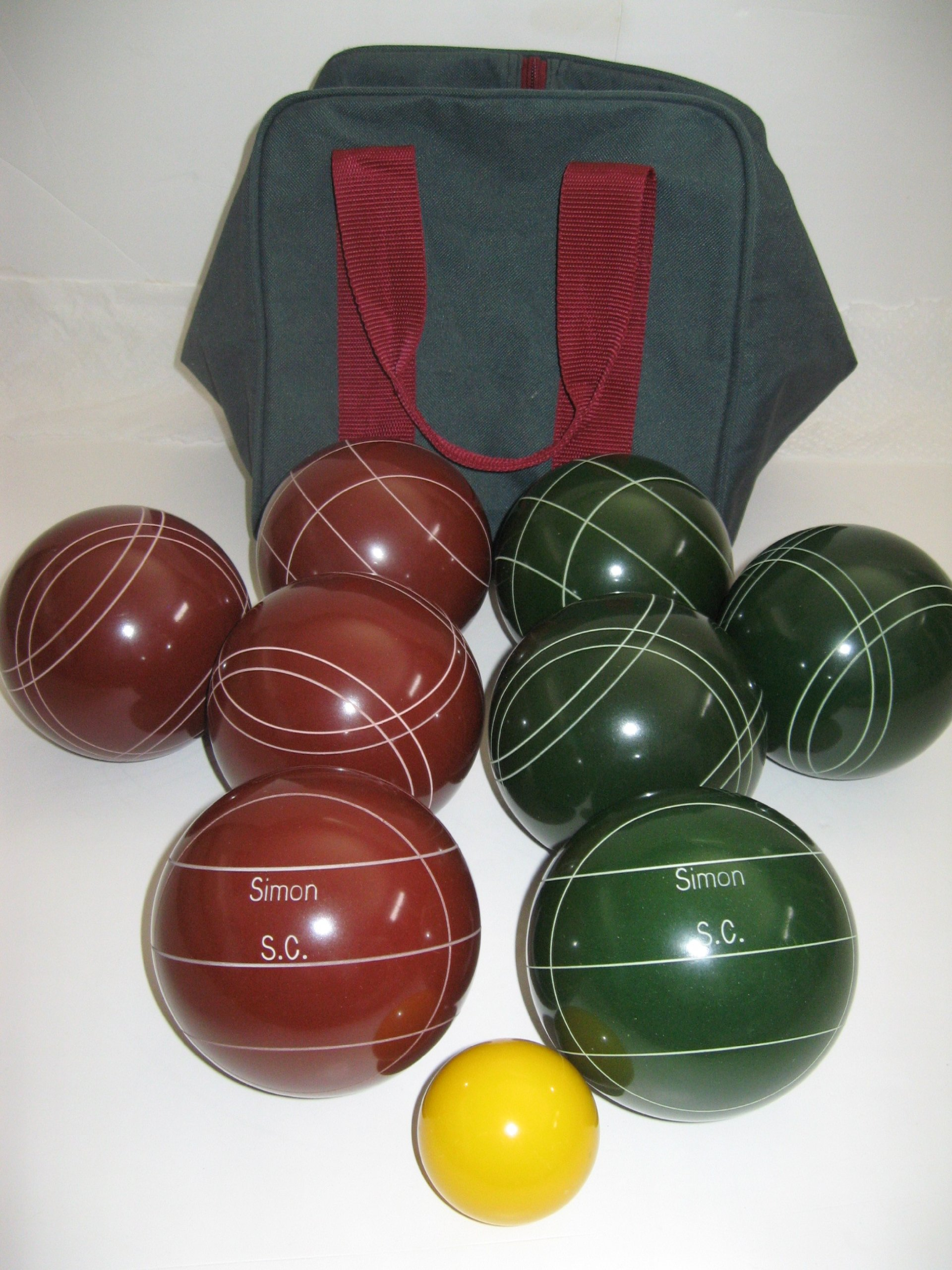 Premium Quality Engraved Bocce package - 107mm EPCO Red and Green balls with engraving [Misc.]